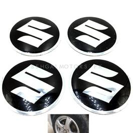 Suzuki Wheel Cap Logo Black - 4 Pieces   Wheel Center Cap   Wheel Logo   Wheel Center Hub Caps   Wheel Dust Proof Covers Badge logo-SehgalMotors.Pk