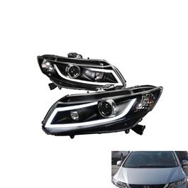 Honda Civic Spec-D LED Projection Headlight / Head Lamp Black - Model 2012-2016-SehgalMotors.Pk