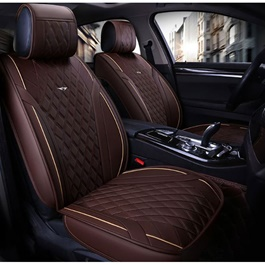 Japanese Leather Type Rexine Seat Covers Brown With Beige Lines-SehgalMotors.Pk