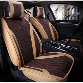 Japanese Leather Type Rexine Seat Covers Beige With Brown-SehgalMotors.Pk