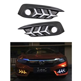 Honda Civic Fog Lamps / Fog Lights DRL Cover V3 Mustang Style - Model 2016-2020-SehgalMotors.Pk