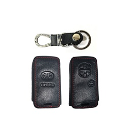 Toyota Prius Leather Key Cover 3 Button with Key Chain / Key Ring - Model 2016-2019-SehgalMotors.Pk