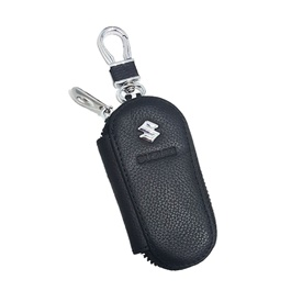 Suzuki Zipper Leather Key Chain / Key Ring | Leather Car Key Wallets Keys Organizer | Keychain Covers Zipper Key Case Bag | Zipper Door Key Chain Organizer Key Pouch Case-SehgalMotors.Pk