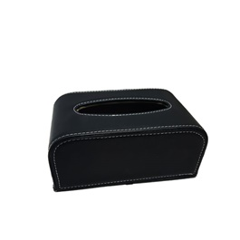 Car Tissue Box Black With White Stitching | Tissue Holder | Modern Paper Case Box | Napkin Container Tray | Towel Desktop-SehgalMotors.Pk