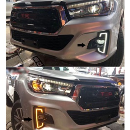 Toyota Hilux Rocco Fog Lamp DRL Covers Dual LED - Model 2016-2019-SehgalMotors.Pk
