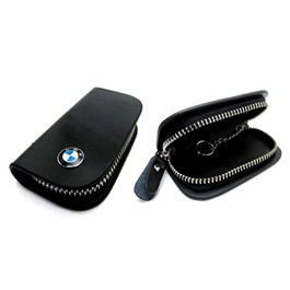 BMW Glossy Zipper Leather Key Cover Black | Leather Car Key Wallets Keys Organizer | Keychain Covers Zipper Key Case Bag | Zipper Door Key Chain Organizer Key Pouch Case-SehgalMotors.Pk