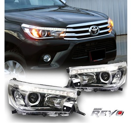 Toyota Hilux Revo LED Projection Headlight / Head Lamp - Pair Model 2016-2020-SehgalMotors.Pk