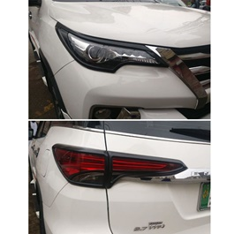 Toyota Fortuner Headlight / Head Lamp Frame Black Color 2 Pcs - Model 2016-2020