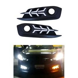Honda Civic Fog Lamps / Fog Lights DRL Cover V3 Arrow Style version 2 - Model 2016-2020-SehgalMotors.Pk