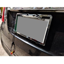 Chrome Number Plate Frame with Rear View Camera-SehgalMotors.Pk