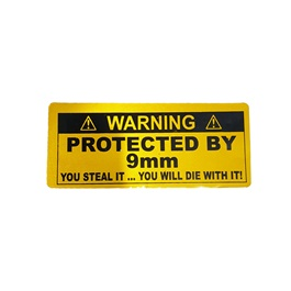 Protected By 9mm Car Warning Sticker Yellow-SehgalMotors.Pk