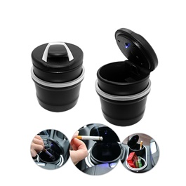 Mini BMW Portable Car Ashtray For Smokers with LED | Auto Cigarette Smoke Cup Holder Ash Tray For Car Smokeless Ashtrays Car Accessories | Car Ashtray Cigarette Smoke Holder Portable Storage Black Trash Bin Dust Garbage For Car Interior Accessories Auto Ashtray-SehgalMotors.Pk