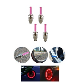 Tire / Tyre Valve LED Air Nozzle Red – Pair  | High Quality Aluminum Led Tyre Valve Caps | Wheel Tire Covered Protector Dust Cover
