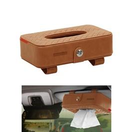 Car Sun Visor Facial Tissue Box - Brown | Tissue Holder | Modern Paper Case Box | Napkin Container Tray | Towel Visor Tissue Box