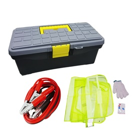 Sos Emergency Kit Premium | Jump Start Cables , Towing Strap Hook, Gloves, Fuse and Reflective Shirt-SehgalMotors.Pk