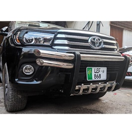 Toyota Hilux Revo Stainless Steel with Sides Double Pipe Front Bull Bar- Model 2016-2020-SehgalMotors.Pk