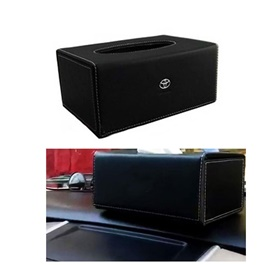 Toyota Leather Car Tissue Box Black  | Tissue Holder | Modern Paper Case Box | Napkin Container Tray | Towel Desktop