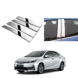 Toyota Corolla Door Pillar Chrome Trims - Model 2017-2020-SehgalMotors.Pk