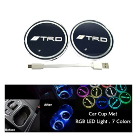 TRD RGB LED Car Cup Holder Plate - 1 piece| Car RGB LED Cup Holder Mat Pad Coaster Rechargeable Interior Atmosphere Lamp Decoration Light for Car Home Party | RGB LED Cup Holder Car Cup Pad Cup Holder Mat Water Drinks Pad Light Car Accessories-SehgalMotors.Pk