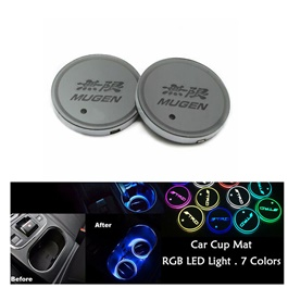 Mugen RGB LED Car Cup Holder Plate - 1 piece  | Car RGB LED Cup Holder Mat Pad Coaster Rechargeable Interior Atmosphere Lamp Decoration Light for Car Home Party | RGB LED Cup Holder Car Cup Pad Cup Holder Mat Water Drinks Pad Light Car Accessories-SehgalMotors.Pk