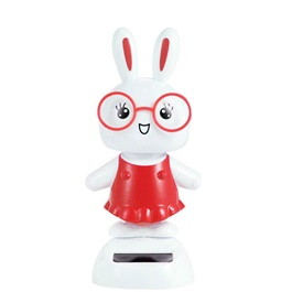 Solar Powered Dancing Rabbit Car Dashboard Decor  | Dashboard Decoration Auto Interior Accessories | Shaking Head Toy Car Ornaments -SehgalMotors.Pk