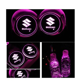 Suzuki RGB LED Car Cup Holder Plate - 1 piece  | Car RGB LED Cup Holder Mat Pad Coaster Rechargeable Interior Atmosphere Lamp Decoration Light for Car Home Party | RGB LED Cup Holder Car Cup Pad Cup Holder Mat Water Drinks Pad Light Car Accessories-SehgalMotors.Pk
