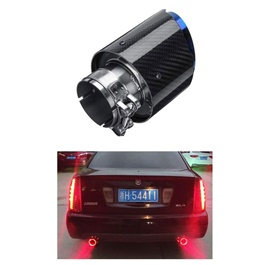 Carbon Fiber LED Exhaust Tip Muffler Pipe - Red  | Universal Car Exhaust Muffler Car Tail Throat Liner Pipe | Universal Car Auto Exhaust Muffler Tip Stainless Steel Pipe Carbon Fibre Trim Modified Car Rear Tail Throat Liner Accessories-SehgalMotors.Pk
