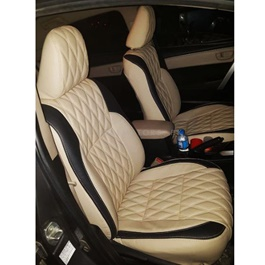Toyota Corolla Seats Covers Beige With Black Strips Style B - Model 2017-2020-SehgalMotors.Pk
