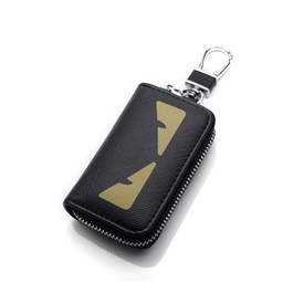 Dragon / Black Panther Eyes Zipper Matte Leather Key Cover With Key Chain / Key Ring Pouch-SehgalMotors.Pk