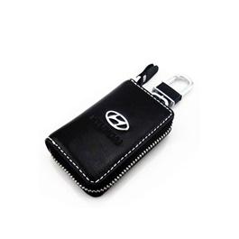 Hyundai Zipper Matte Leather Key Cover With Key Chain / Key Ring Black-SehgalMotors.Pk