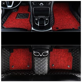 Toyota Corolla 9D Stitched Floor Mat Black With Red Grass - Model 2017-2020-SehgalMotors.Pk