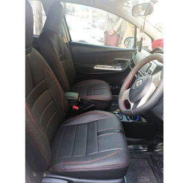 Toyota Vitz Leather Type Rexine Seat Covers Black with Red Stitch | Seat Covers | Universal Seat Covers | Leather Type Seat Covers-SehgalMotors.Pk