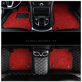 Toyota Fortuner 9D Floor Mats Black and Red - Model 2016-2020